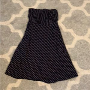J.Crew Strapless Petite 6P Navy Polka Dot Dress